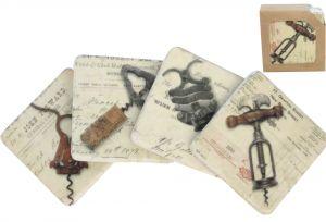 old corkscrew image coaster set