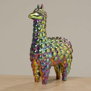 fun llama gift ornament in iridescent ceramic