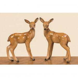Two Cute Standing Female Deer Ornament