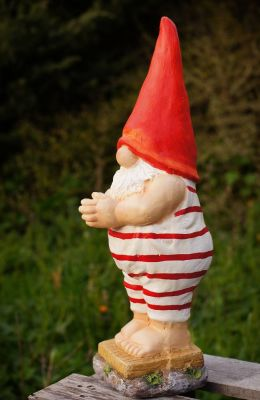 bathing gnome in red hat swimming costume