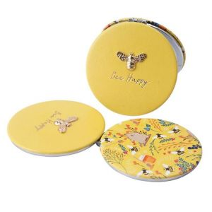 Yellow Bee Happy Compact Mirror