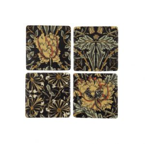 black_drink_coaster_set_with_floral_flower_ochre