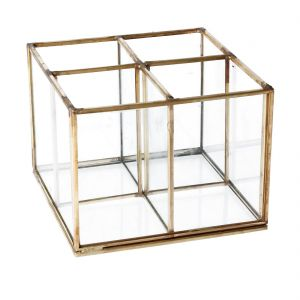 Glass & Brass 4 Part Desk Organiser