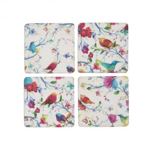bright tropical bird coasters set 4 LO20081