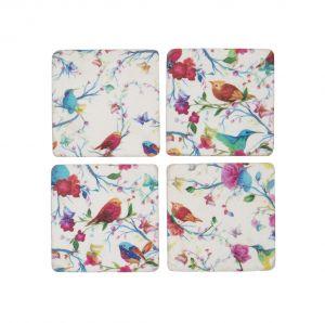 Bright Tropical Bird Coaster Set