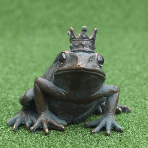 Bronze Toad Wearing A Crown
