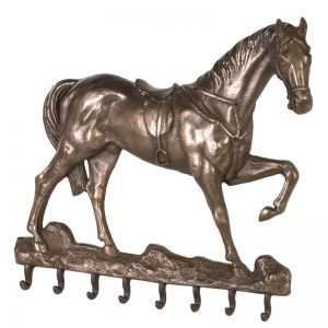 horse design wall hook row in bronze