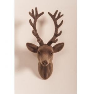 2 Flocked Wall Hanging Deer Head & Antler