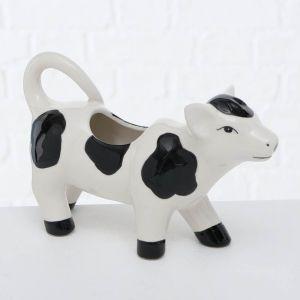 cow milk jug ceramic black and white dolomite