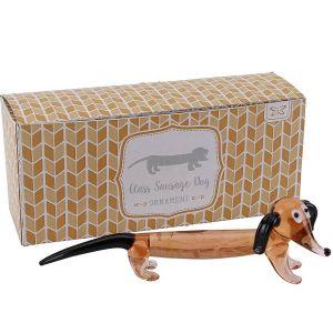 Glass Sausage Dog Dachshund Ornament