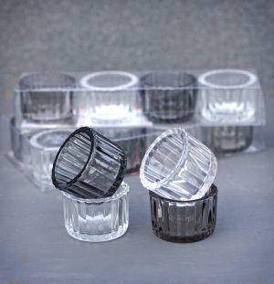 Four Black & Grey Glass Tealight Holders