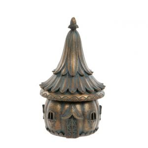 Verdigris Bronze fairy House with Flower Roof