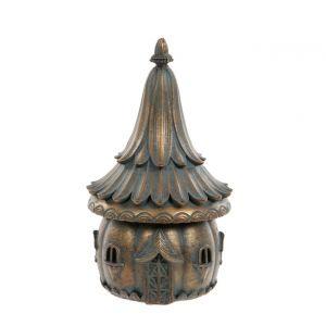 Verdigris Bronze fairy House with Flower Roof