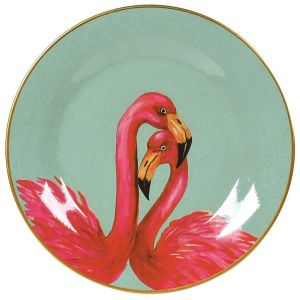 Painted pink flamingo plate wall décor