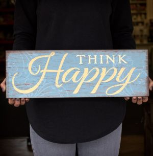 Think Happy Wall Plaque