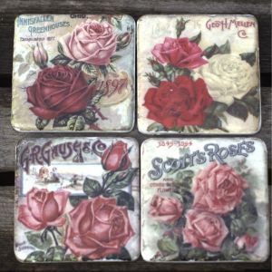 Gisela Graham pink rose coaster set at PurpleSunrise Southend