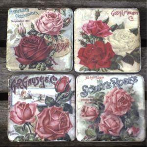 Vintage Pink Roses Coaster Set