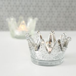 Silver Glass Crown Tealight Holder Set of 3