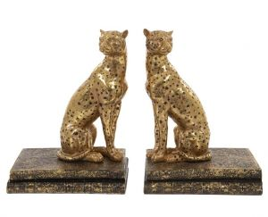 Gold cheetah bookends by London Ornaments LO20136 at PurpleSunrise.com