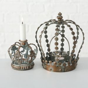 Antique Gold Crown Candle Holder Combo