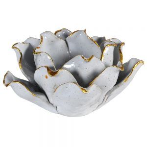 Gold edged porcelain flower candle holder for tealight candles