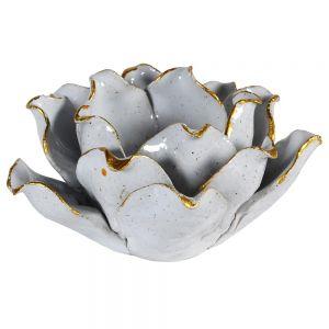 Gold Edged Porcelain Flower Candle Holder