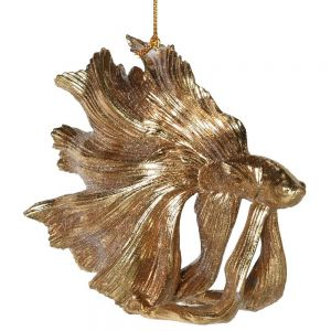 Gold Fantail Fighting Fish Decoration