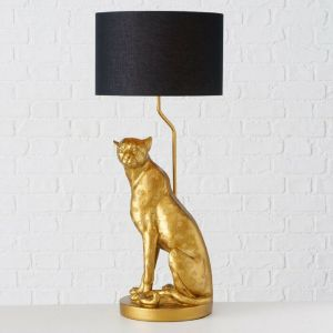 Gold sitting leopard table lamp with black light shade from PurpleSunrise.com home and gift Southend
