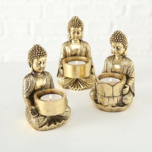 gold buddha tealight holder set 3