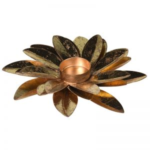 Gold Flower Petal Tealight Holder