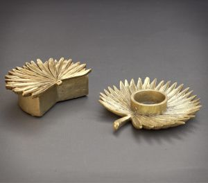 gold palm leaf frond trinket pot