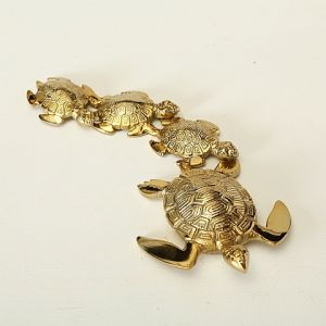 Shiny Gold Turtle Family Ornament