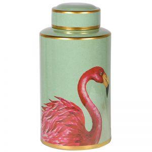 Pink Flamingo Lidded Storage Jar