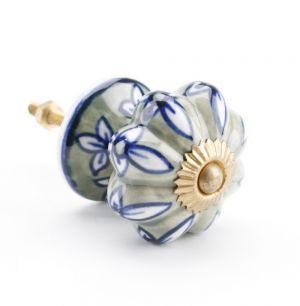 Green & Blue Flower Ceramic Drawer Pull
