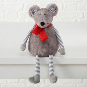 Grey Plush Mouse Shelf Edge Sitter