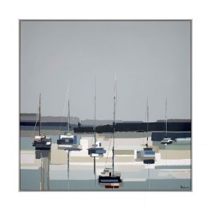 Harbour Reflections by artist Sabrina Roscino. A modern seaside wall art painting