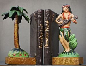 iron paradise island hula girl bookend
