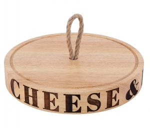 Round Wood Cheese Board with Rope Handle