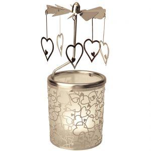 Silver Hearts Tealight Spinner Carousel