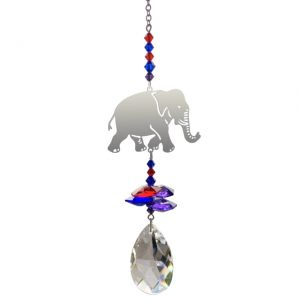 Indian elephant crystal fantasy with red, blue, purple colour crystals by Wild Things
