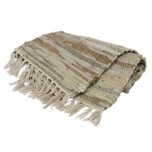 large leather rag floor rug stone beige colour