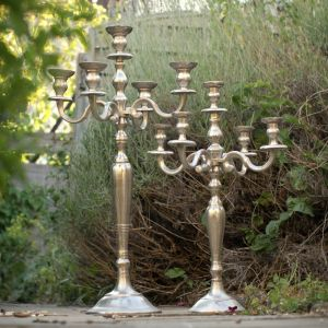 Raw Nickel 5 Arm Candelabra - 80cm