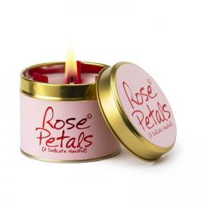 Lily Flame Rose Petals scented candle tin
