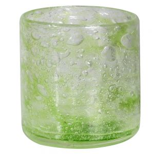 Lime bubble glass candle holder