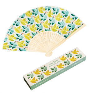 love birds bamboo hand fan