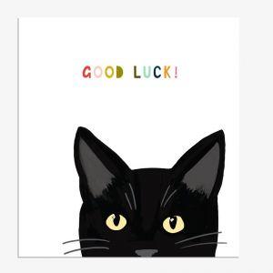 Black Cat Good Luck Card