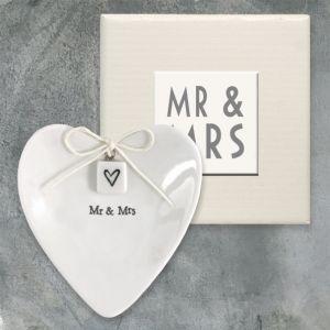 East of India Mr & Mrs wedding ring dish