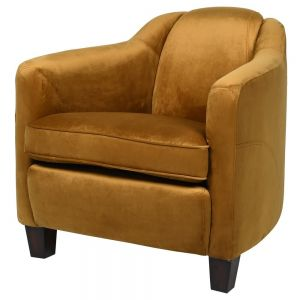 Retro mustard velvet rocket armchair with FREE delivery in Essex from Under the Sun Southend