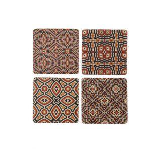 Orange Tribal Pattern Coaster Set