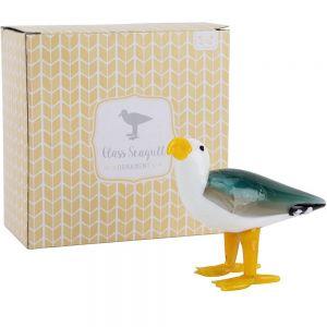 Glass Seagull Trinket Ornament